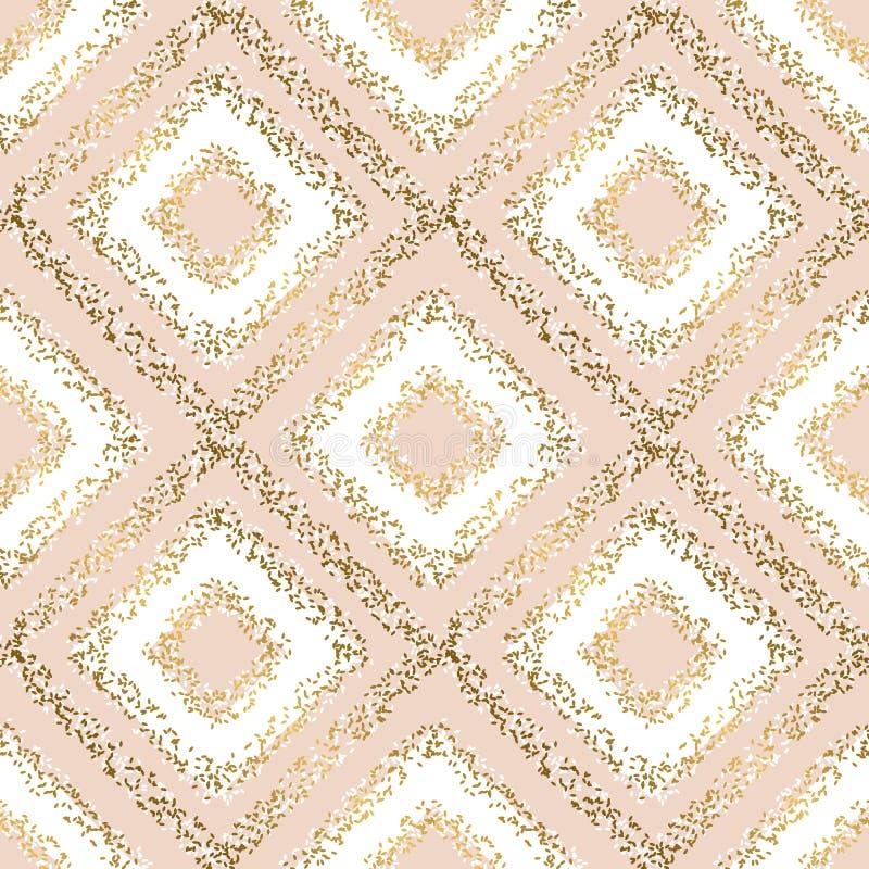 Beige pastelkleur en gouden ruit naadloos patroon stock illustratie