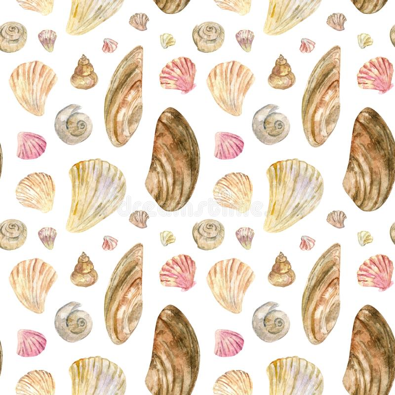 Beige and pink watercolor seamless shell pattern stock illustration
