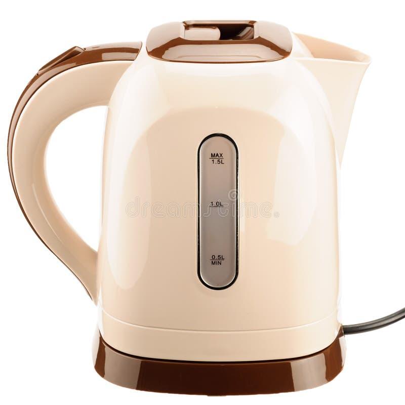 Beige plastic kettle on base isolated on white background royalty free stock photo