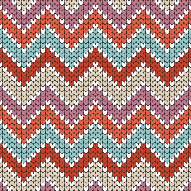 Beige pourpre orange tricoté peu de rose de zigzag de modèle sans couture illustration de vecteur