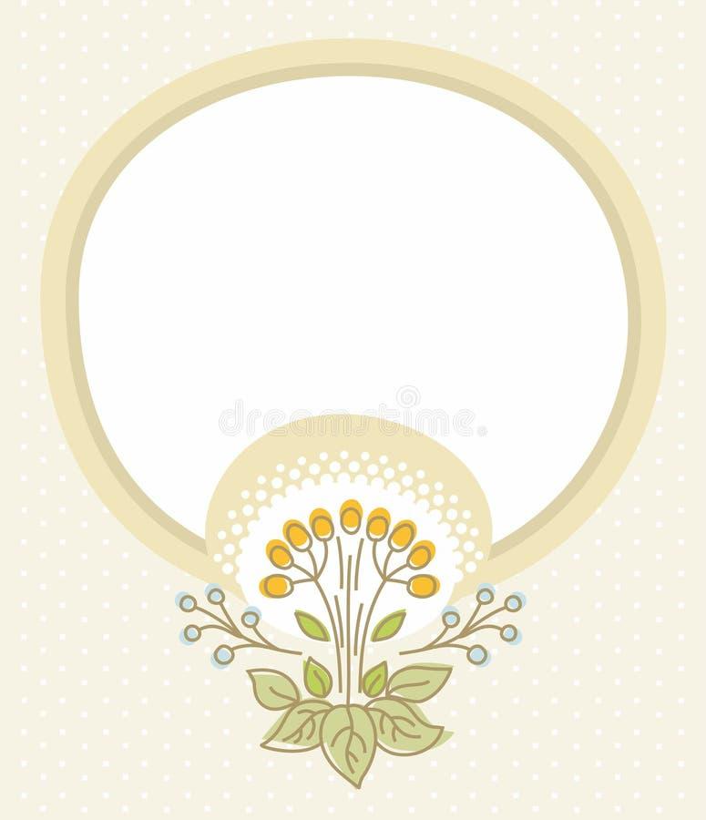 Beige prentbriefkaar, beige kader, bloem met bessen stock illustratie