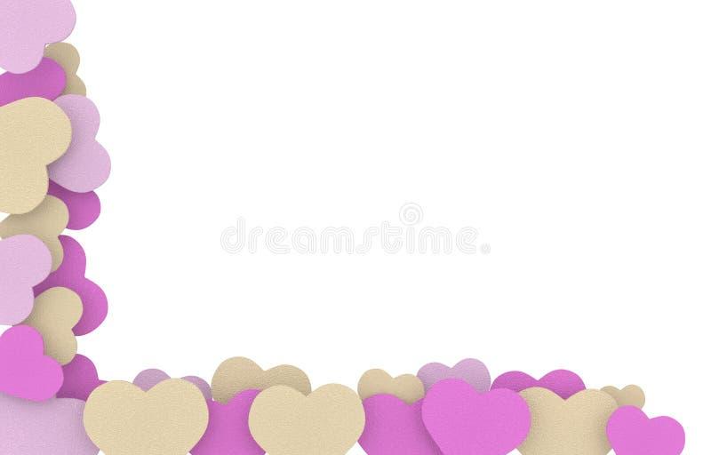 Beige ram för rosa färg- och lilatvålhjärtor royaltyfri illustrationer