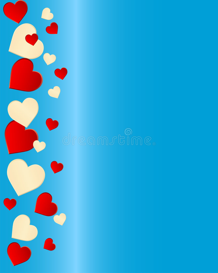 Beige and red hearts border on blue royalty free stock photography