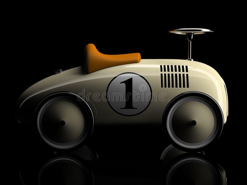 Beige Retro- Spielzeugautonummer eins lokalisiert auf schwarzem Hintergrund stock abbildung