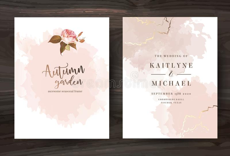 Beige and rose gold watercolor style vector design cards. vector illustration