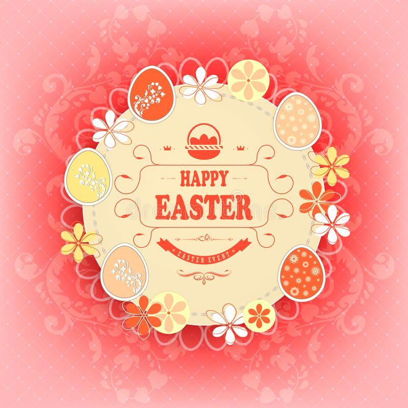 Beige round frame on a red background with the text Happy Easter. vector illustration