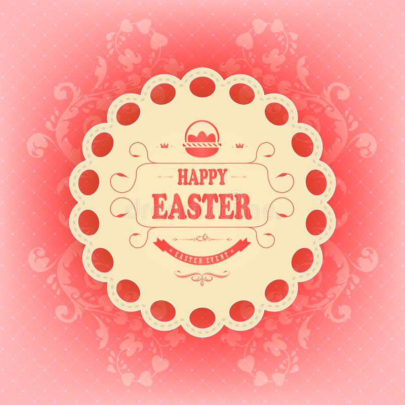 Beige round frame with text Happy Easter on a red background with a pattern. stock illustration