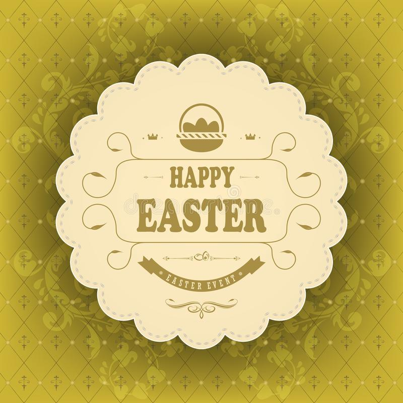 Beige round frame with text Happy Easter on a green background with a pattern. royalty free illustration