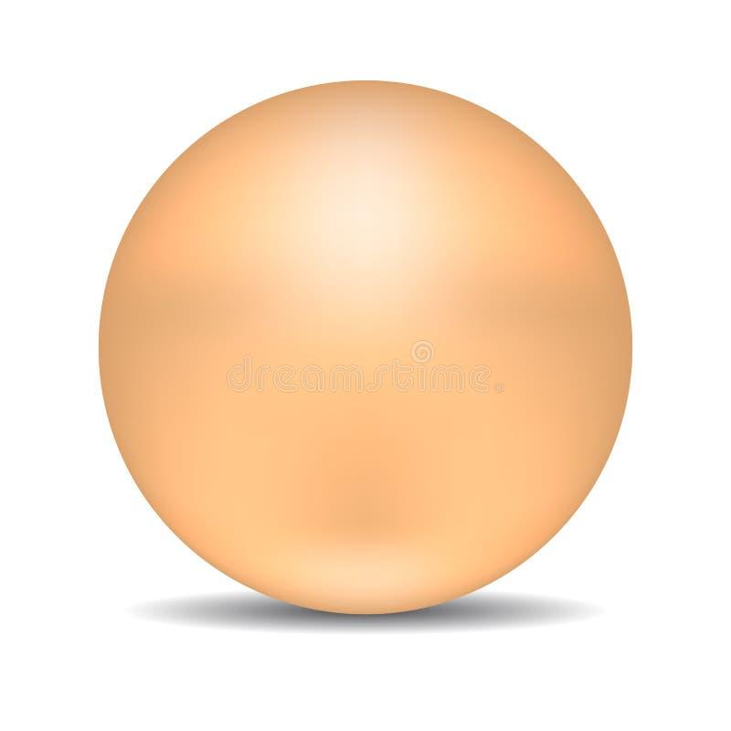 Beige runder Bereich oder Ball Realistische Perle lokalisiert auf weißem Hintergrund Vektorabbildung für Ihr design lizenzfreie abbildung