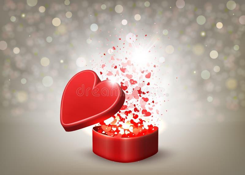 Beige samenstelling met een rode kist, stralen van licht en vele harten royalty-vrije illustratie