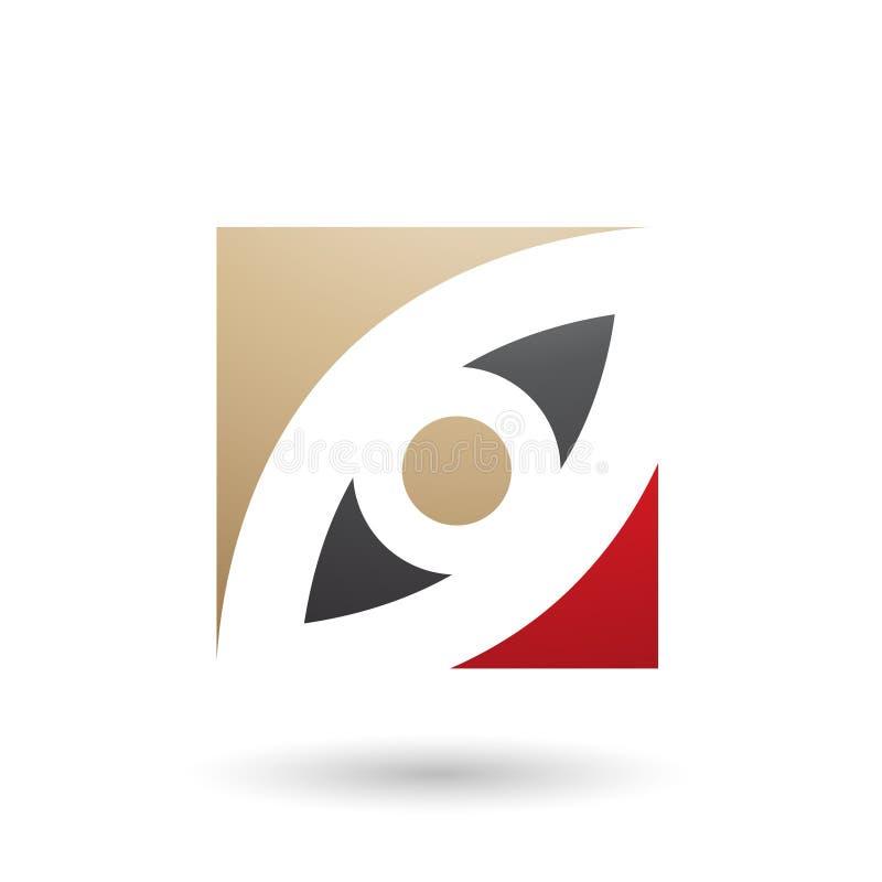 Beige Schwarzes und Red Eye formten quadratische Vektor-Illustration stock abbildung