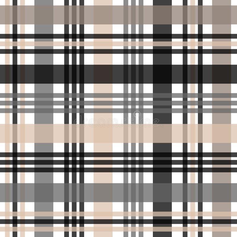 Beige, Schwarzweiss-schottisches Muster des Schottenstoffplaids vektor abbildung