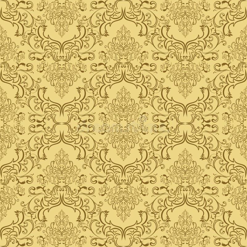 Beige Seamless Damask Pattern Royalty Free Stock Photo