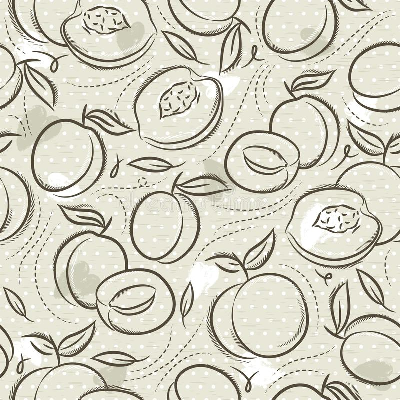 Beige Seamless Patterns  with apricot, plum and peach on grunge background. Ideal for printing onto fabric and paper or scrap. Booking, vector stock illustration