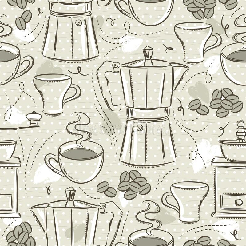 Beige seamless patterns of coffee set, coffee cup, coffee mill, kettle. Ideal for printing onto fabric and paper or scrap booking. Vector vector illustration