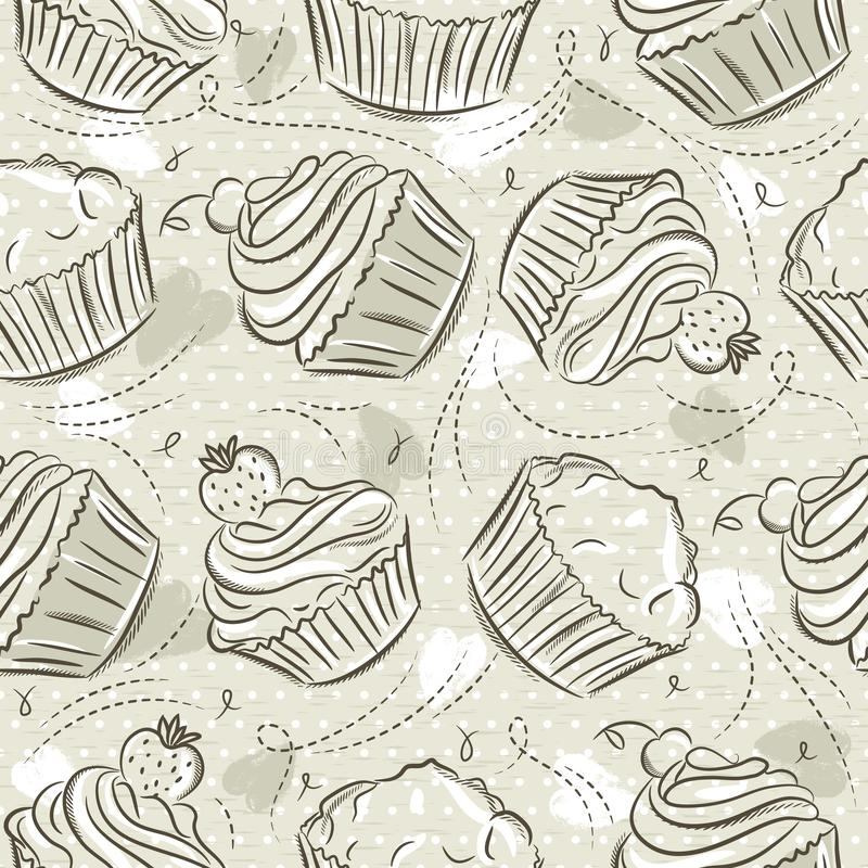 Beige Seamless Patterns with different cupcaks on grunge background. Ideal for printing onto fabric and paper or scrap booking,. Vector royalty free illustration