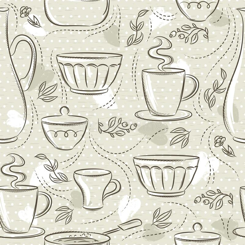 Beige seamless patterns with different tableware, flower, cup, pan. Ideal for printing onto fabric and paper or scrap booking.  royalty free illustration