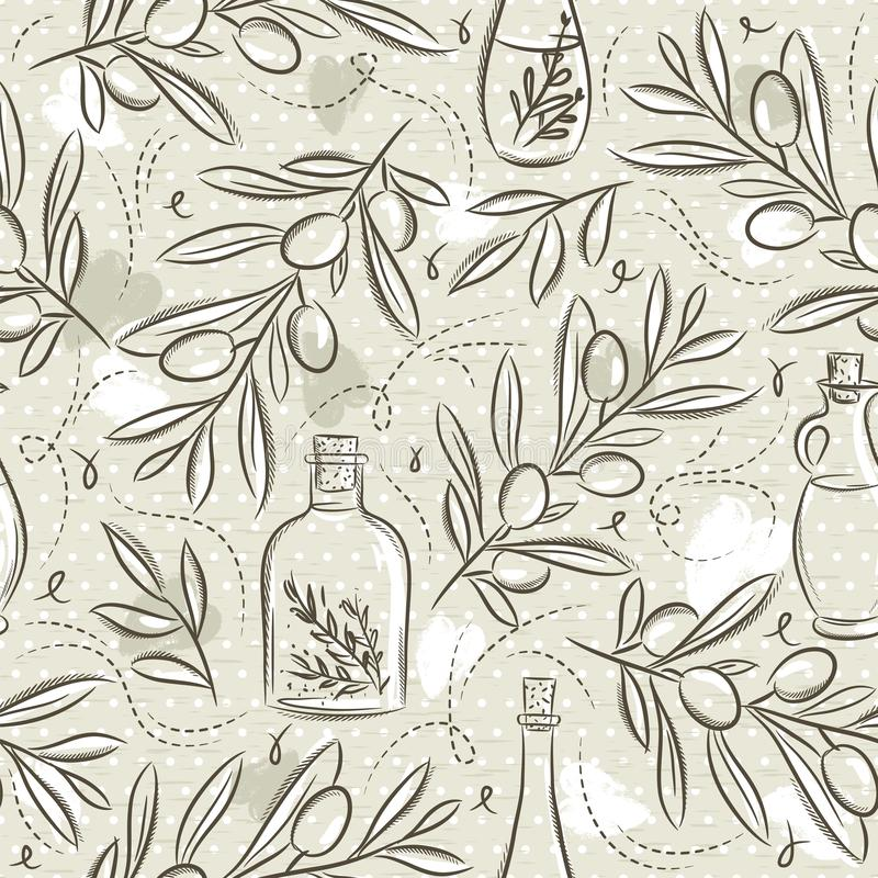 Beige Seamless Patterns with olive plant and bottle on grunge background. Ideal for printing onto fabric and paper or scrap. Booking, vector vector illustration
