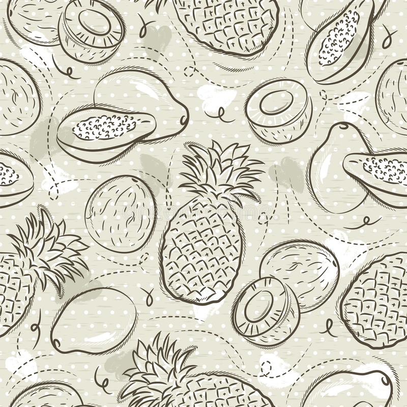 Beige Seamless Patterns with papaya, coconut and pineapple on grunge background. Ideal for printing onto fabric and paper or scrap royalty free illustration