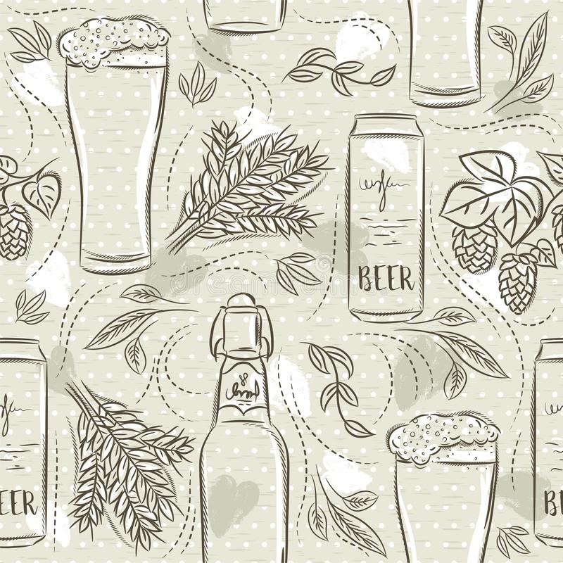 Beige seamless patterns with set of beer bottle, mug, barley and hop. Ideal for printing onto fabric and paper or scrap booking royalty free illustration