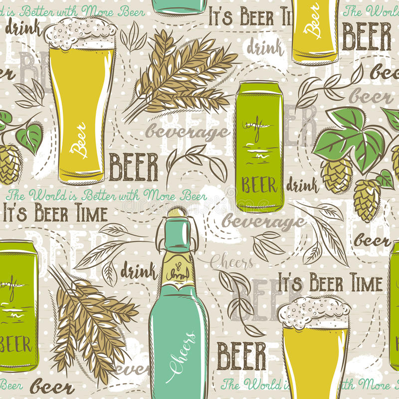 Beige seamless patterns with set of beer bottle, mug, hop, barley and text. royalty free illustration