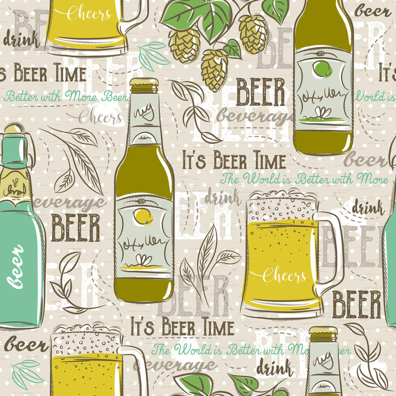 Beige seamless patterns with set of beer bottle, mug, hop royalty free illustration