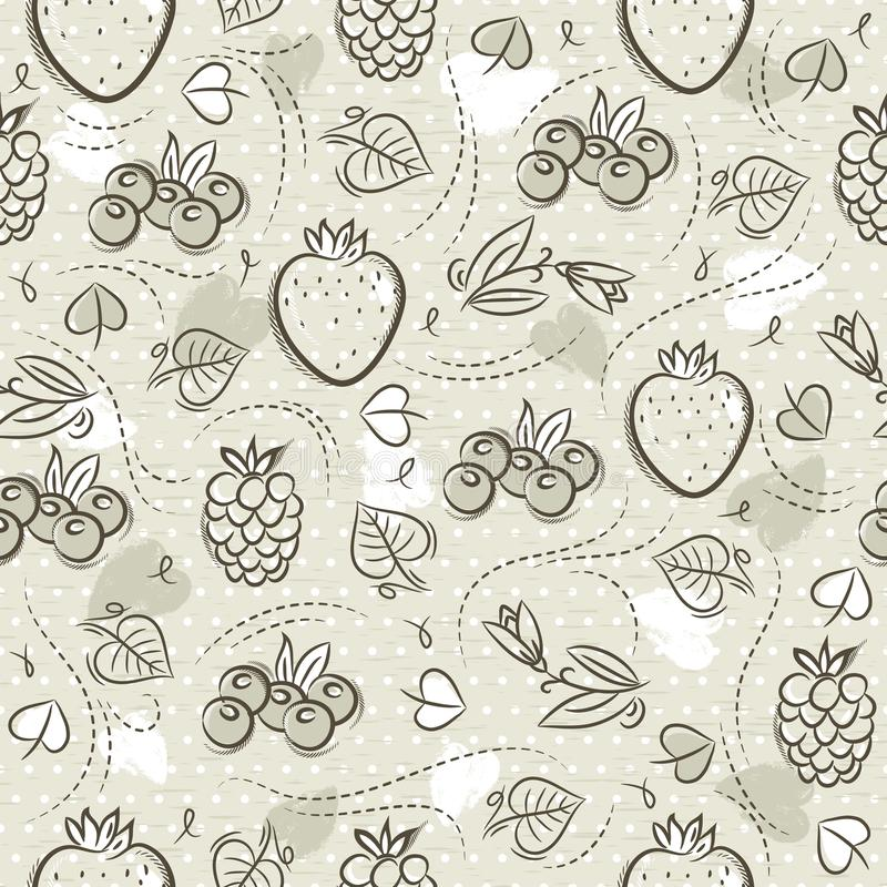 Beige Seamless Patterns with strawberry, blackberry, blueberry and raspberry on grunge background. Ideal for printing onto fabric. And paper or scrap booking royalty free illustration