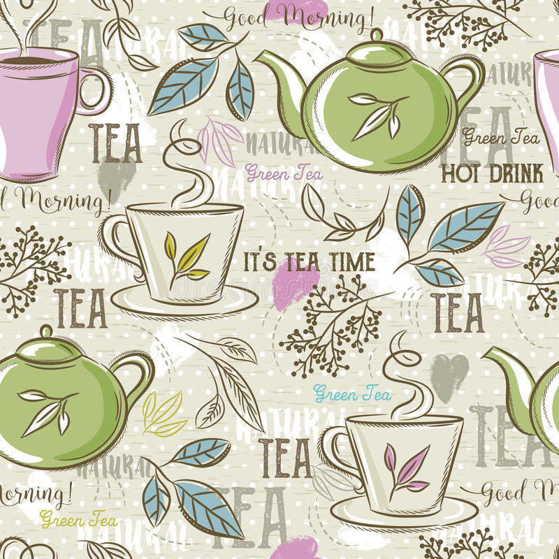 Beige seamless patterns with tea set, leafs, cup,kettle, flower royalty free illustration