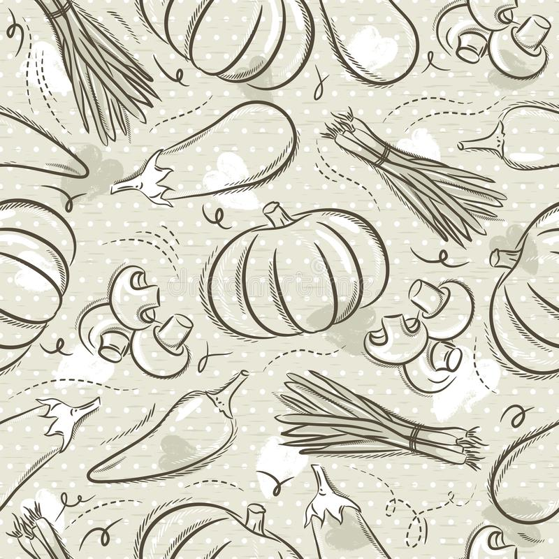 Beige Seamless Patterns with vegetable, pepper, eggplant and pumpkin. Ideal for printing onto fabric and paper or scrap booking,. Vector stock illustration