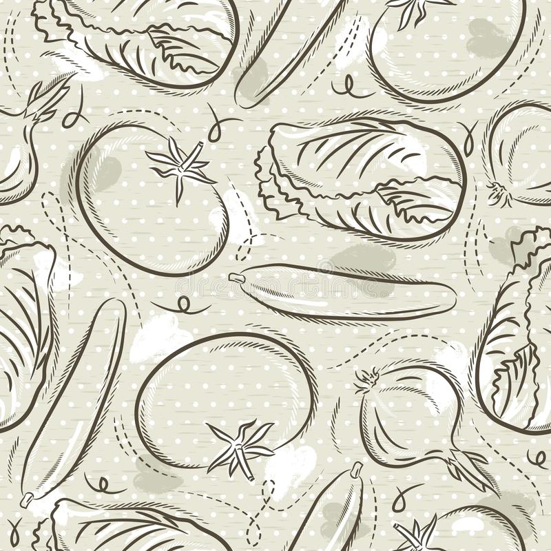 Beige Seamless Patterns with vegetable, tomato, cucumber, salad and onions. Ideal for printing onto fabric and paper or scrap. Booking, vector vector illustration
