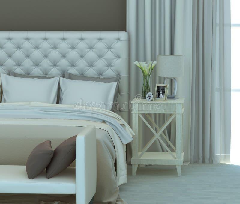 Beige slaapkamer stock illustratie. Illustratie bestaande uit ...