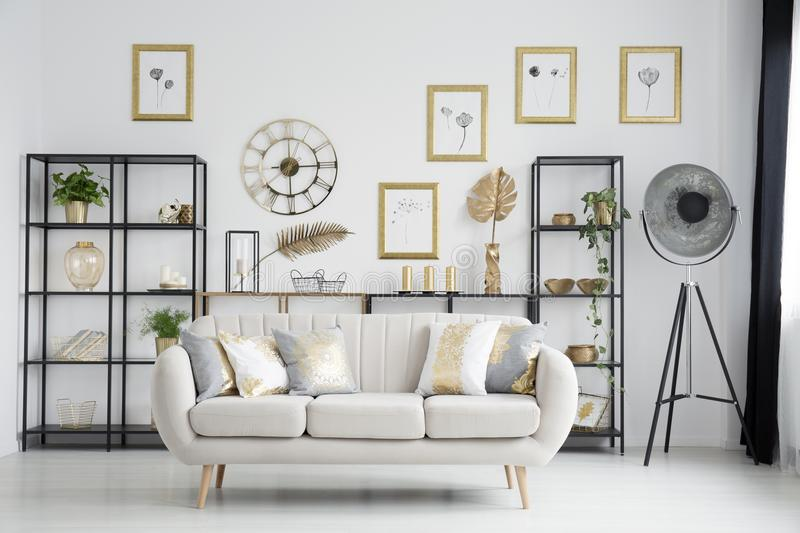 beige sofas living room. Download Sofa in gold living room stock image  Image of gallery 113157441