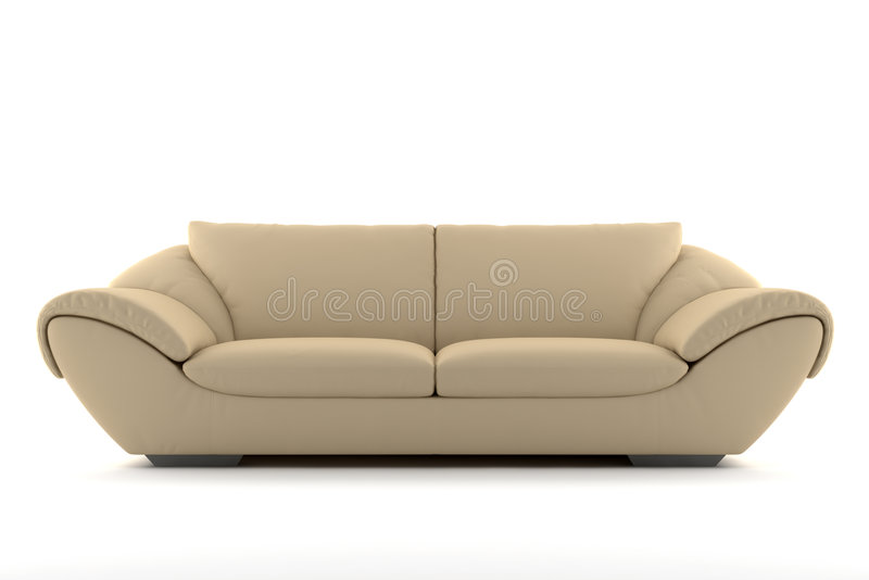 Beige sofa isolated on white royalty free stock photography