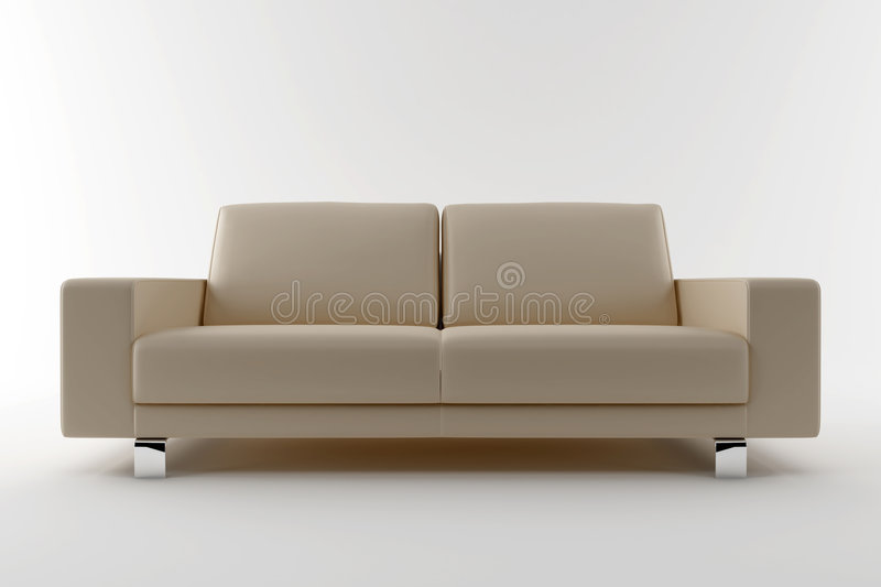 Beige sofa isolated on white background vector illustration