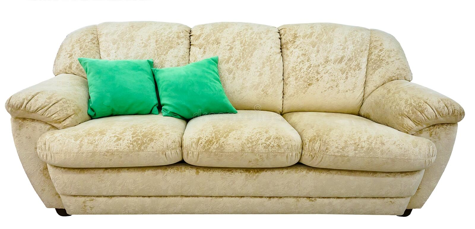 Beige sofa. Soft velour fabric couch. Classic modern divan on isolated background.  stock photos
