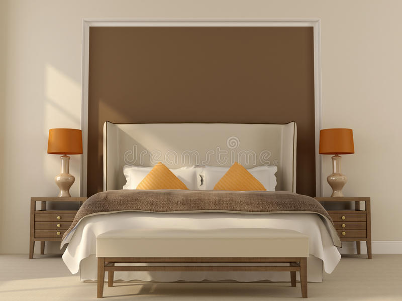 Beige sovrum med den orange dekoren stock illustrationer