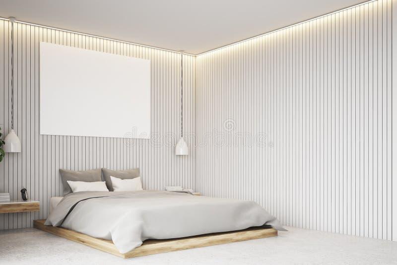 Beige sovrum med en affisch, hörn arkivfoto