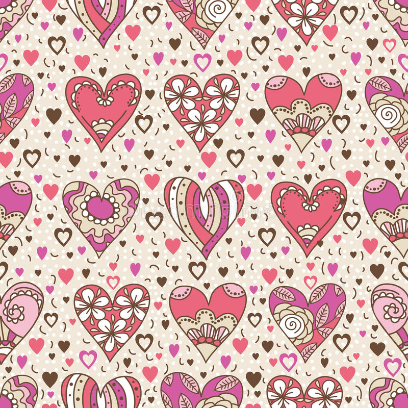 Beige square background with pink decorative valentine hearts stock photos