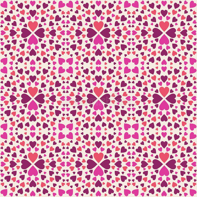 Beige square pattern with red decorative valentine hearts royalty free stock images