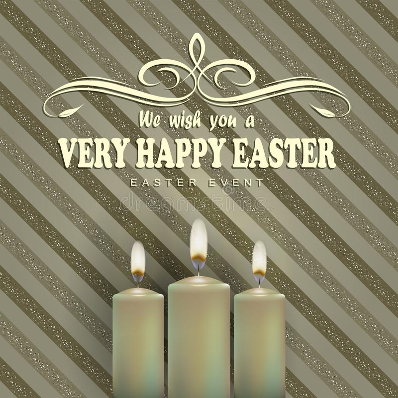 Beige striped background with candles and text of a happy easter card vector illustration
