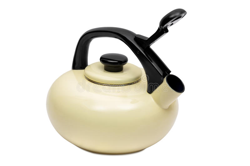 Beige tea kettle on white background stock image