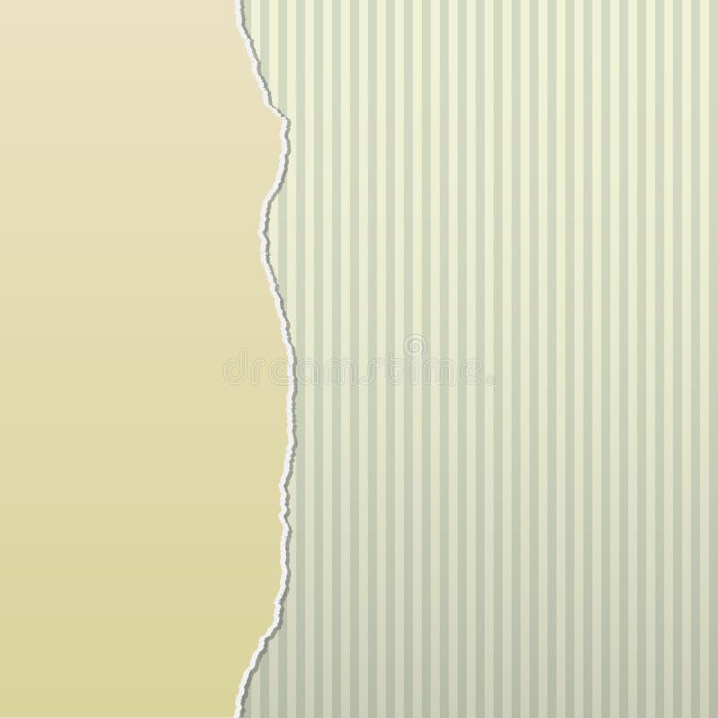Beige Torn Paper on Stripes Side royalty free illustration