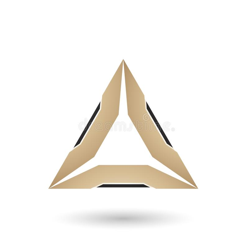 Beige Triangle with Black Edges Vector Illustration royalty free illustration