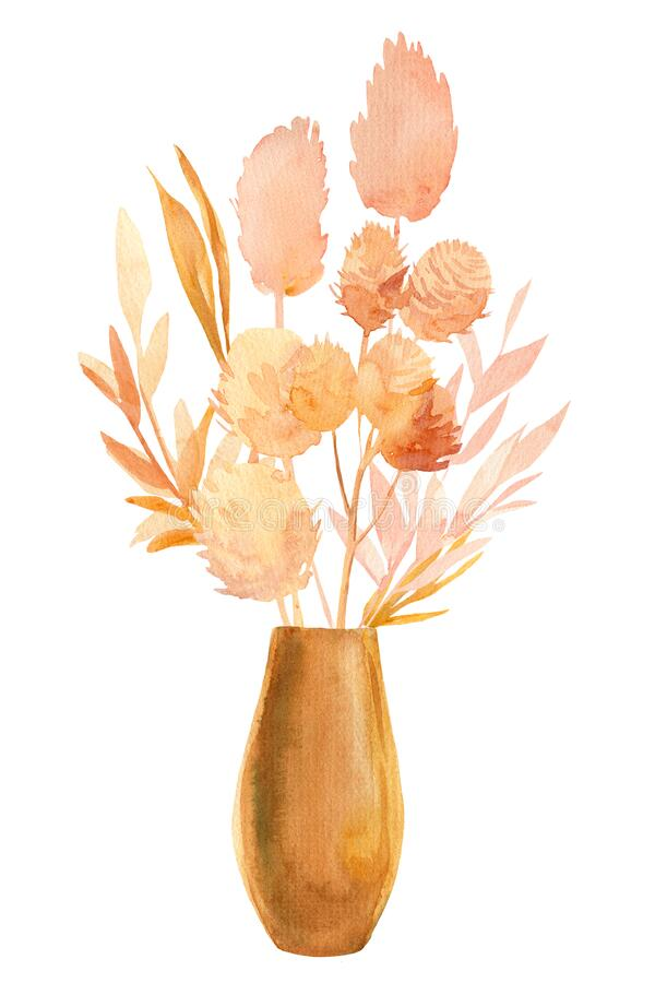 Free Beige Tropical Leaves, A Bouquet Of Dry Plants In A Vase On A White Background, Watercolor Illustration In Boho Style Royalty Free Stock Photography - 188300817