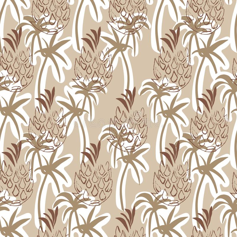 Beige tropische ananas en palm naadloze patroonachtergrond stock fotografie
