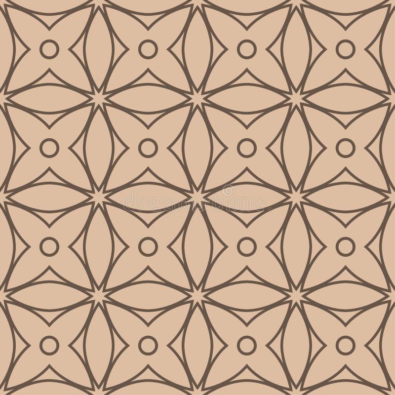 Beige und braune geometrische Verzierung Nahtloses Muster stock abbildung