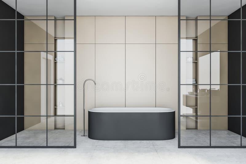 Beige und Glasbadezimmerinnenraum mit Wanne stock abbildung