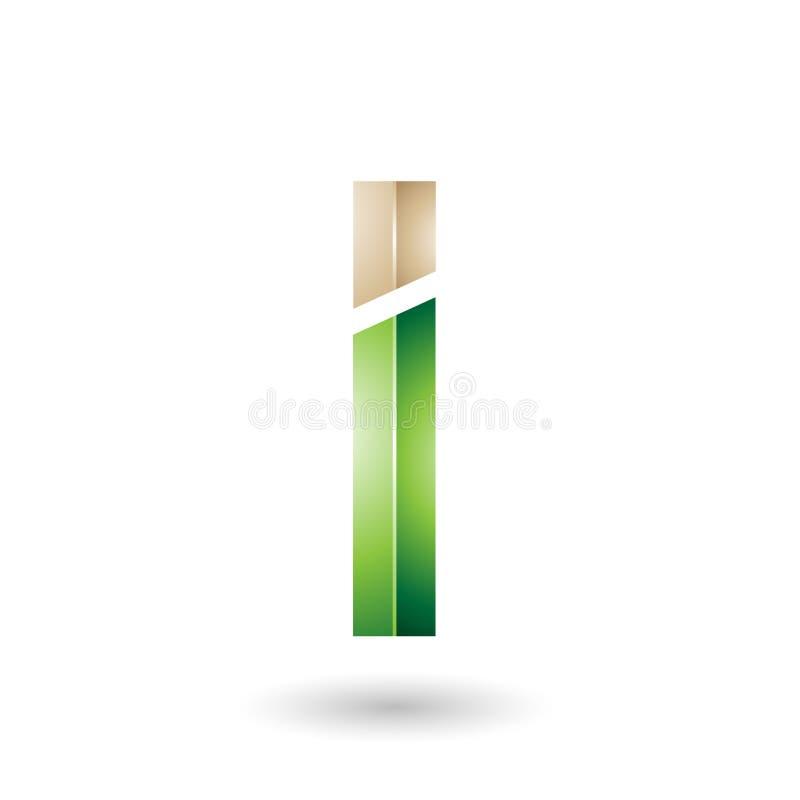 Beige und grüner rechteckiger glatter Buchstabe I lizenzfreie abbildung