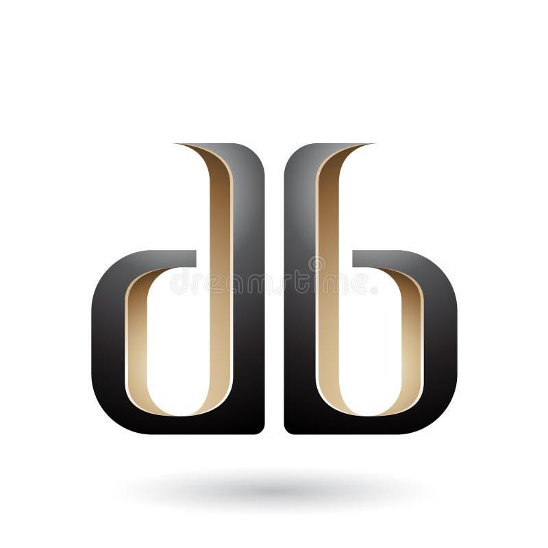 Beige und schwarze doppelte mit Seiten versehene d- und b-Buchstaben lizenzfreie abbildung
