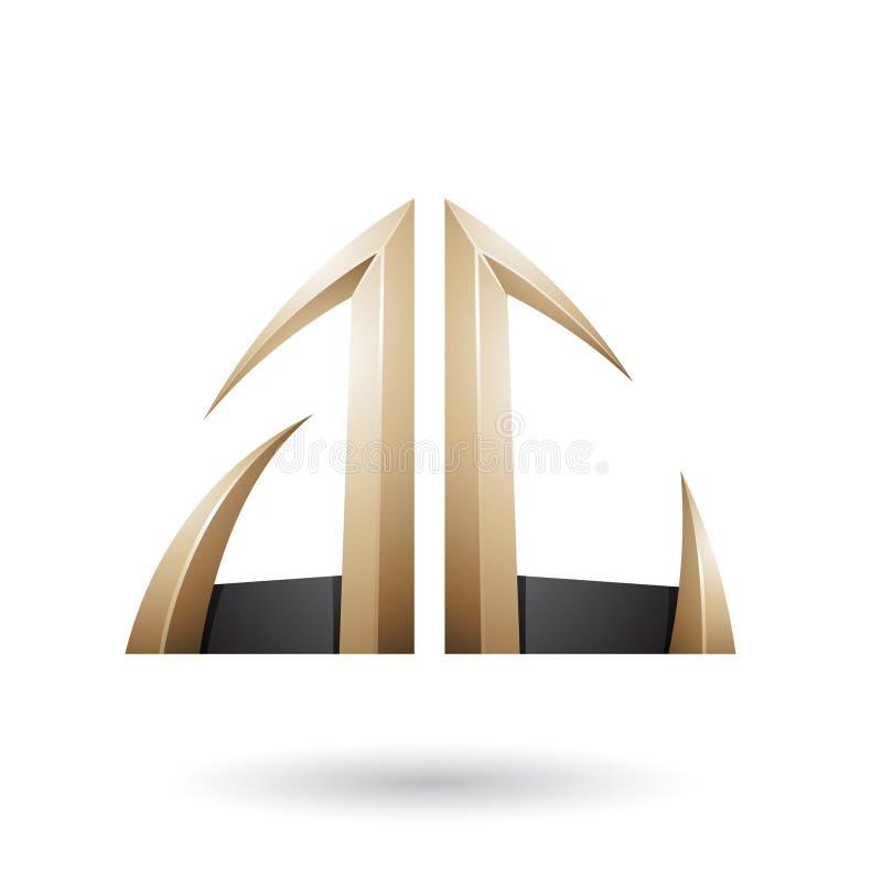 Beige und schwarzer Pfeil geformte a- und c-Buchstaben stock abbildung